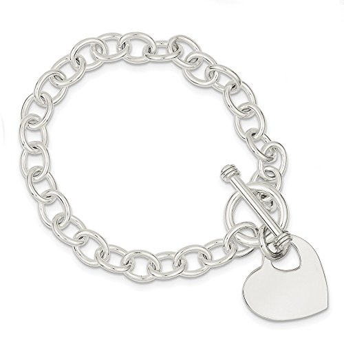 925 Sterling Silver Engraveable Heart Disc On Link Toggle Bracelet 7.75 Inch Charm W/charm/love Fine Jewelry Gifts For Women For Her