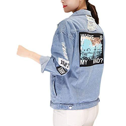 Primavera Manga Moda Chaqueta Vintage Múltiples Niña Classic Elegantes Otoño Botón Carta Estampadas Mujer Azul Bolsillos con Larga Rasgado Mezclilla Estilo Chaquetas De Abrigo Fiesta Outerwear 6xFPqY4