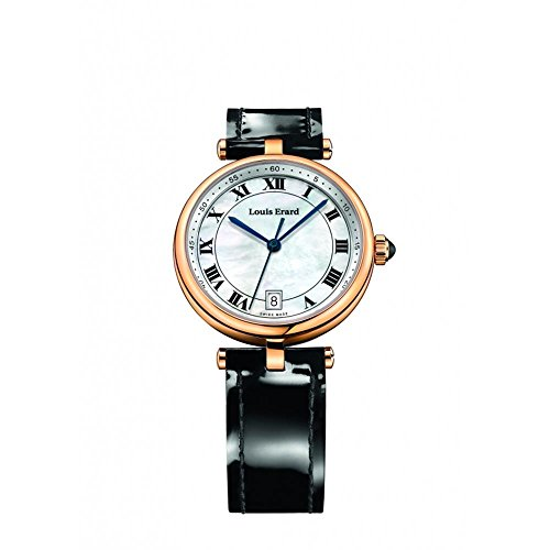 Louis Erard Women's Romance 33mm Black Leather Band Rose Gold Plated Case Quartz Watch 11810PR04.BRCB5