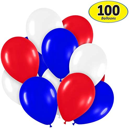 Pack of 100 Assorted Bright Red White and Blue Color 5 Decorator Latex Balloons MADE IN USA