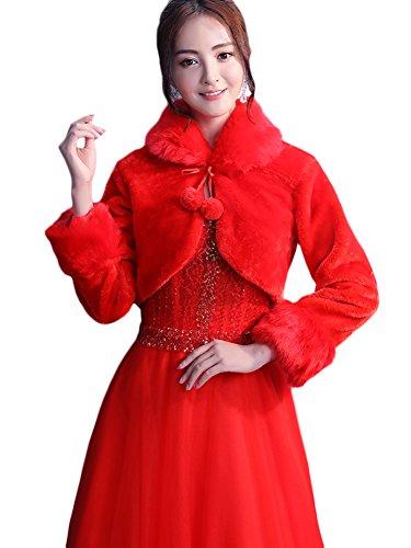 Giacche Giacche sintetica Bolero Rosso donne Donna Scialle Scialle Corpetto peluche da pelliccia Insun sposa sposa HzSqRw