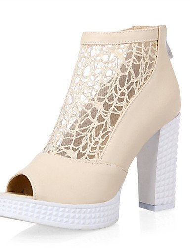 LFNLYX Zapatos de mujer-Tacón Robusto-Tacones / Punta Abierta-Sandalias-Boda / Vestido / Casual / Fiesta y Noche-Semicuero-Negro / Rojo / Beige beige