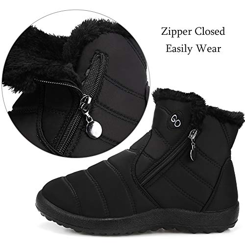 DUOYANGJIASHA Womens Snow Boots Fur Warm Ankle Booties Waterproof Comfortable Slip On Outdoor Winter Shoes Plus Size