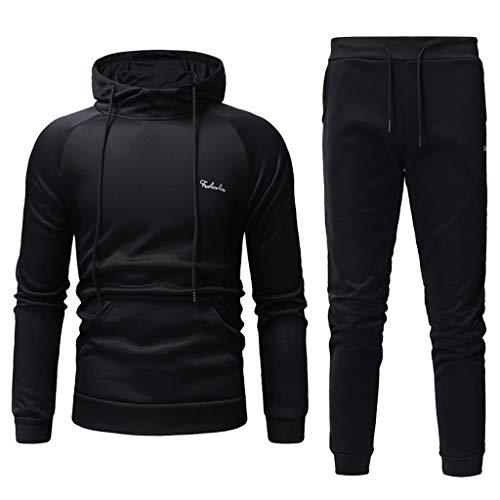 Men's Solid Suit Duseedik Autumn Winter Patchwork Sweatshirt Top Pants Sets Sports Tracksuit