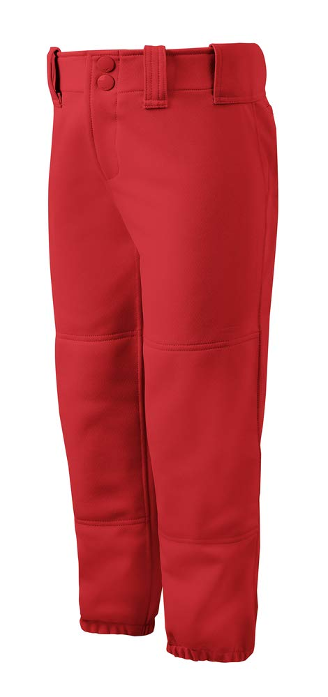 Mizuno Girls Youth Belted Low Rise Fastpitch Softball Pant, Red, Youth X-Large by Mizuno