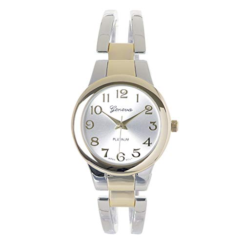 Rosemarie Collections Women's Stylish Two Tone Geneva Cuff Bracelet Watch