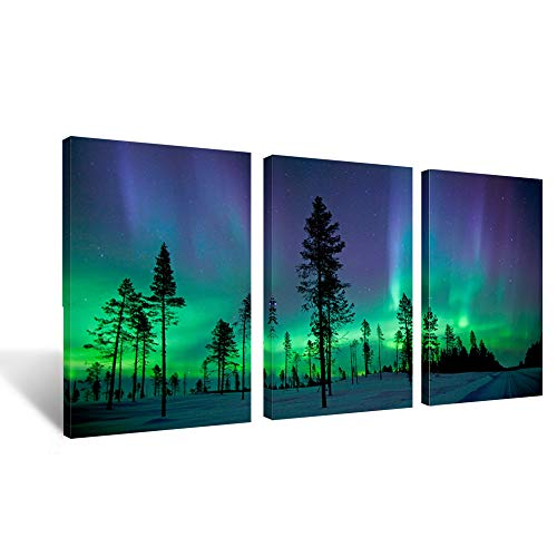 Kreative Arts Northern Lights Contemporary Art Photography Prints 3 Panel Modern Wall Decor Wood Mounted Giclee Canvas Print Framed Picture Ready to Hang 16x24inchx3pcs