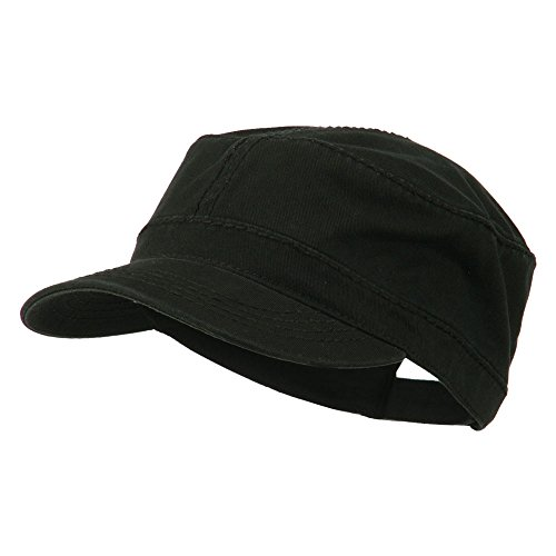 Heavy Garment Washed Cotton Cap (Garment Washed Heavy Stitching Army Cap - Black OSFM)
