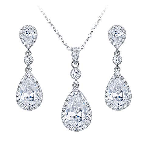 EleQueen 925 Sterling Silver Full Cubic Zirconia Teardrop Bridal Pendant Necklace Dangle Earrings Set ()