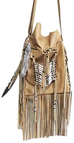 11sunshop BAG-ORLANDO - Bolso de asas para mujer Beige marrón claro M