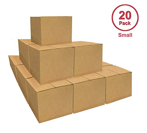 Small Moving Boxes, 20 Pack Corrugated Cardboard Boxes Heavy-Duty Box Ideal for Moving, Storing, Shipping and Packing from B2BPikPak
