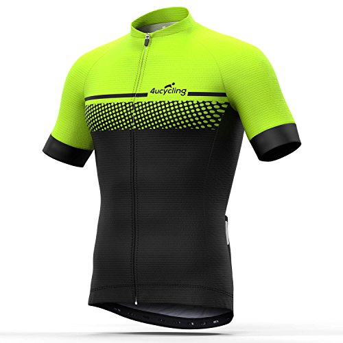 - Men's Short Sleeve Cycling Jersey Full Zip Moisture Wicking, Breathable Running Top - Bike Shirt