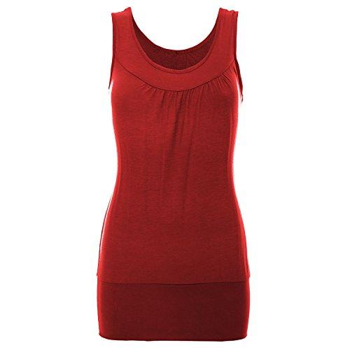 Oops Outlet - Camiseta sin mangas - Sin mangas - para mujer Red - Slim Slimming Effect Slimfit