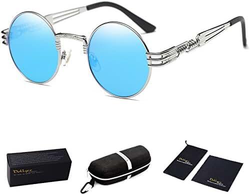 Dollger John Lennon Round Sunglasses Steampunk Metal Spring Frame Mirror Lens