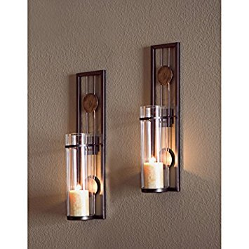 Danya B Contemporary Metal Wall Sconce Set (Candle Sconces Contemporary)