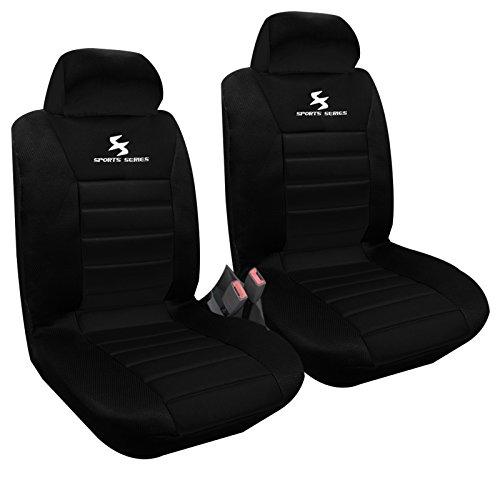 2 x Vordere Autositzbezug Sitzbezüge Schonbezüge Werkstattschoner, Komplettset , Sitzschoner Set , universal Sitzauflager , Schwarz , AS7254-2