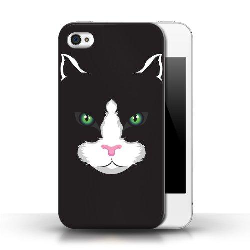Etui / Coque pour Apple iPhone 4/4S / Chat noir conception / Collection de Museaux