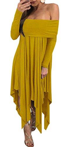 Cruiize Womens De L'épaule Manches Longues Irrgular Robe De Soirée Club Lâche Jaune