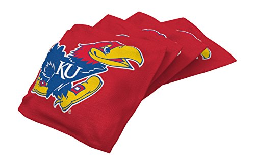 Wild Sports NCAA College Kansas Jayhawks Red Authentic Cornhole Bean Bag Set (4 Pack)