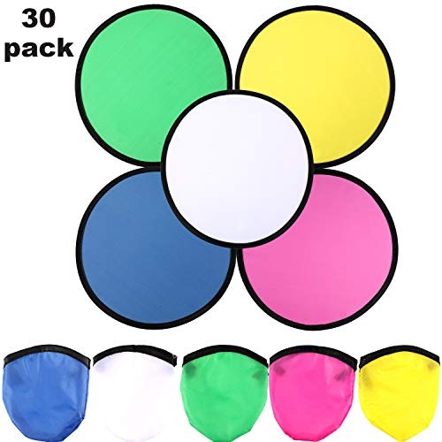 Boao 30 Pieces Flying Disc Foldable Flying Disc with Bag Folding Pocket Toy Set for Summer Outdoor Activity Game, 5 Colors]()