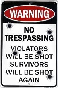 WARNING VIOLATORS WILL BE SHOT METAL SIGN NO TRESPASSING WITH BULLET HOLES