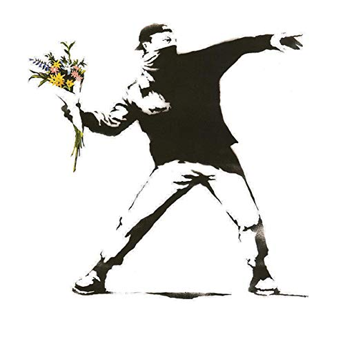(Banksy Rage, The Flower Thrower Graffiti Canvas Prints Wall Art Archival Ink in Glossy Professional Photo Paper 17