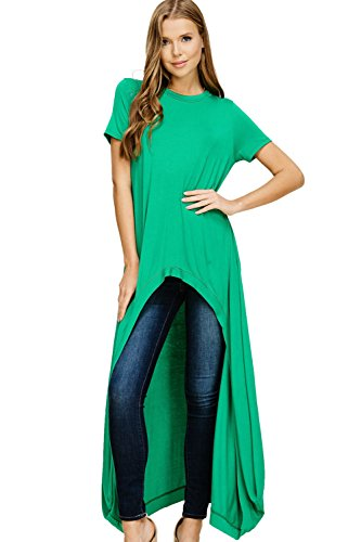 Annabelle Women's Short Sleeve O Neck Knit Hi Low Maxi Hem Tunic Plain Tops Kelly Green Large T1296