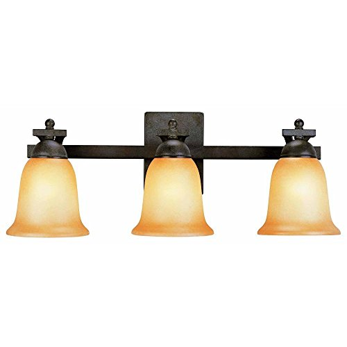 Commercial Electric Rustic Iron 3-light Vanity with Antique Ivory Glass