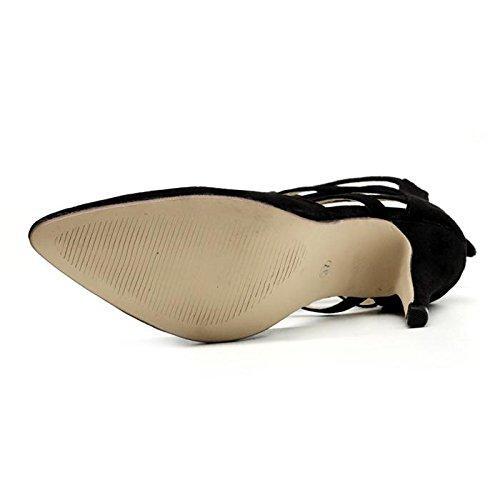 LvYuan-mxx Sandalias romanas de las mujeres / caída del verano de la primavera / Casual Botas simples / frescas / talones de estilete / puntas señaladas hueco de las correas del ante / oficina y vesti 35-BLACK
