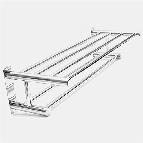 Stainless Steel Double Layer Towel Rail Wall Mounted Bathroom Storage Shelf Rack