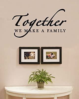 SWORNA English Proverbs Series Together we make a family love home Wall Art Saying Inspirational Uplifting Removable Vinyl Wall Stickers UK Bedroom Living Room Study Hallway Sitting Room Dinning Room Office Window Wall Art Stickers Quotes Wall Mural Decor