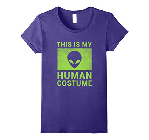 Womens Funny Alien Halloween Costume Shirt Large Purple