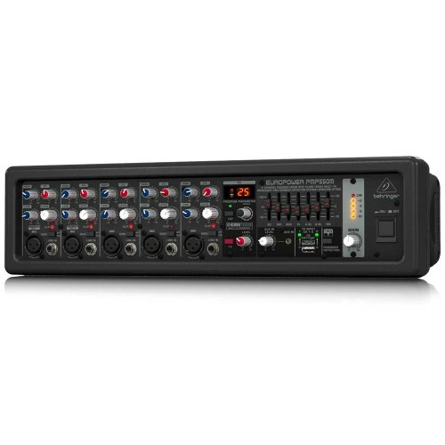 BEHRINGER, 5 PMP550M 500-Watt 5-Channel Powered Mixer with Klark Teknik Multi-Fx Processor FBQ Feedback Detection System Black
