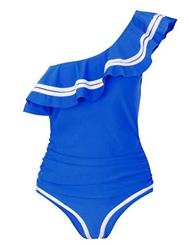 Verano Playa Women Off Shoulder One Piece Swimsuit Ruffled Flounce Tummy Control Bathing Suit Blue, Large (US 12-14)