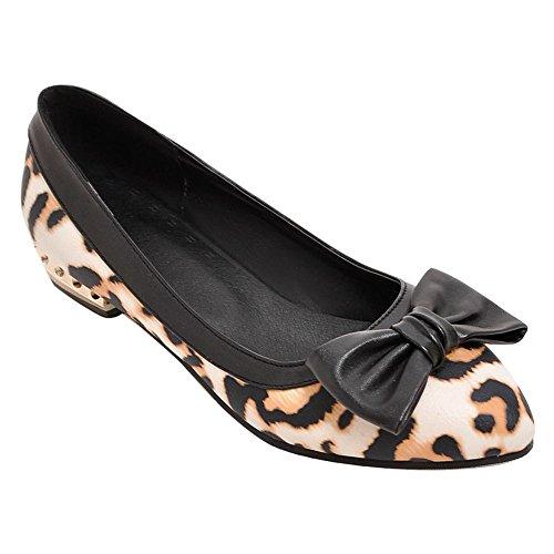 Mee Shoes Damen bequem Schleife Niedrig Pumps Aprikose