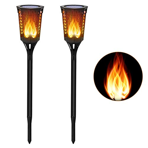 - Slopehill Solar Flickering Flames Torches Lights- Dusk to Dawn, Waterproof Outdoor Decor with 96LED Lights, Dancing elf Tiki Torch, Decor Lighting for Garden, Patio, Deck, Yard, Path, Driveway, 2 Pack