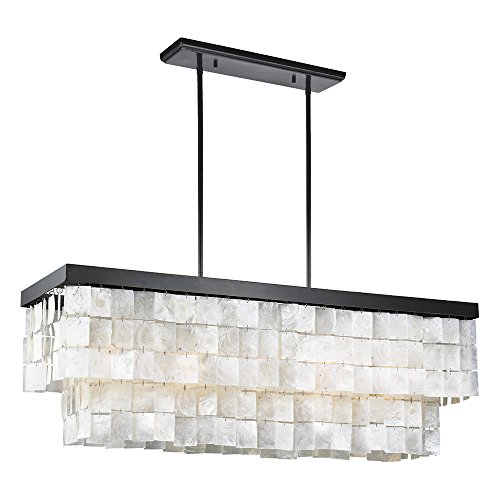 Sea Gull Lighting 3225005-782 Corsicana Five-Light Chandelier with White Capiz Shell Panel, Heirloom Bronze Finish For Sale