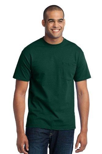 Port & Company Mens Tall 50/50 Cotton/Poly T Shirt with Pocket 4XLT Dark Green