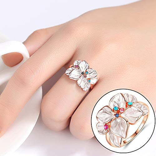 Slendima Petal Shape Faux Crystal Ring Women Cocktail Party Banquet Fashion Jewelry Gift Rose Gold US 9 by Slendima (Image #3)
