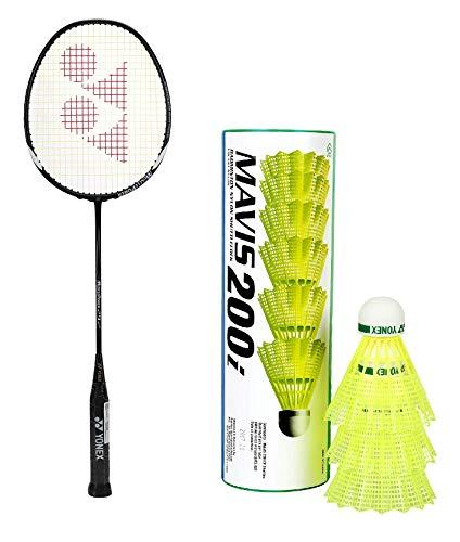 YONEX Muscle Power 29 Strung Badminton Racquet  Black/White, G4, 85 92 Grams, 24 pounds   amp; Yonex Mavis 200i Nylon Shuttle Cock, Pack of 6  Yellow