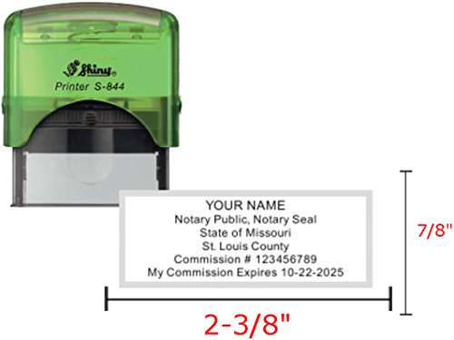 Shiny Green Notary Stamp | Self Inking, Printer S-844, 2.3x0.81 Inch Prints | Missouri