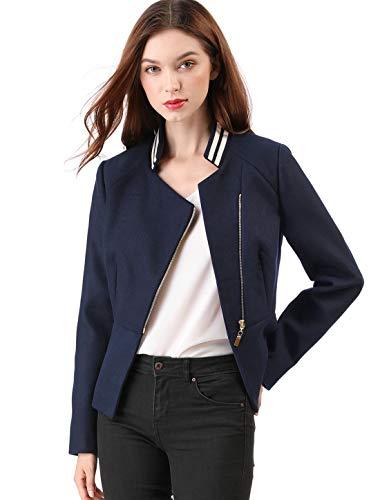 Allegra K Women's Short Zip Up Chic Biker Moto Jacket Stripe Contrast Collar Pea Coat Dark Blue S (US 6) Chic Cotton Moto Jacket