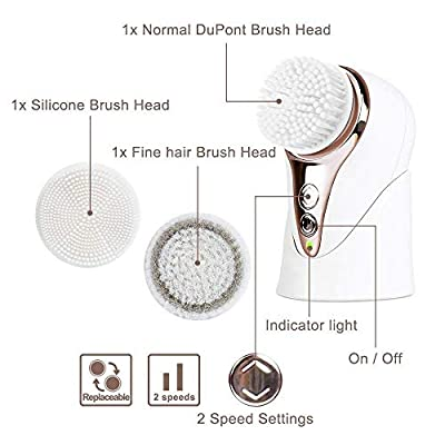 MiroPure Sonic Facial Cleansing Brush, 3 in 1 Mini Portable Vibration Waterproof Rechargeable for Deep Cleansing, Gently Exfoliate and Remove Blackhead with 3 Brush Heads and 2 Settings