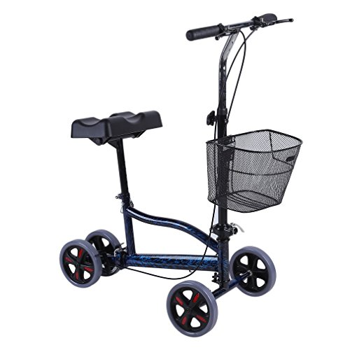 (Genuine store Knee Walker with a Basket & Brake System, Steerable Folding Knees Scooter 4 Wheel Caddy Crutch Alternative for Broken Leg, Foot, Ankle Injuries - Height Adjustable)
