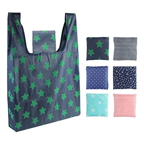 6 Pack Reusable Grocery Bags Foldable Cute Shopping Tote Bag Eco Friendly Large Nylon Oxford Shopping Bags Waterproof Washable Groceries Bags Fits in Pocket