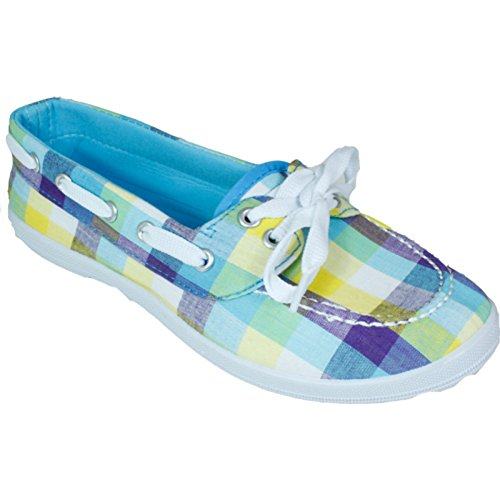P-7205 Dames Bootschoen Canvas Flats Loafers Oxfords Lace Up Denim Tennis Fashion Deck Casual Sneakers 10 Kleuren Beschikbaar Blauw / Wit / Paars