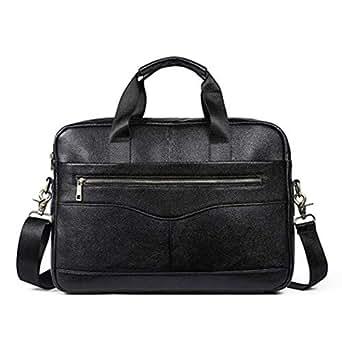 Mens Bag New Men's Solid Color Full Grain Leather Handbag Briefcase Business Casual Men's Bag Cross Section Oblique Head Layer Leather Computer Bag High capacity (Color : Black)