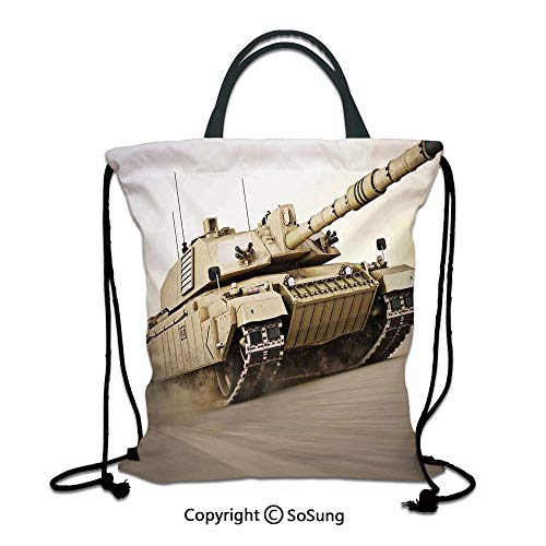 (War Home Decor 3D Print Drawstring Bag String Backpack,Military Tank Moving Speedy with Motion Blur over Sand Dangerous Artillery Weapon,for Travel Gym School Beach Shopping,Beige)