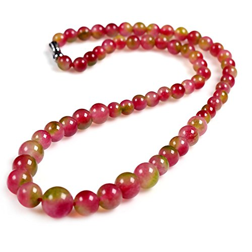 Paialco Women's Graduated Beads Necklace Double Colors Jade 6-14MM, 16 (Double Graduated Strand)