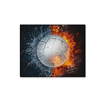 Amazon Com Interestprint Volleyball In Fire And Water Sports Canvas